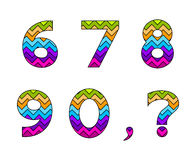 Set of Colorful Striped Numbers Part 2 Royalty Free Stock Photo