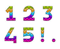 Set of Colorful Striped Numbers Part 1 Stock Images