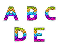Set of Colorful Striped Uppercase Alphabets Part 1 Royalty Free Stock Photos