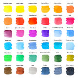 Set of Colorful Strokes as Watercolor Palette. With Descriptions, Hand Drawn and Painted, Isolated on White Royalty Free Stock Photography