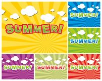 Set of colorful summer background Royalty Free Stock Photo