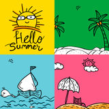 Set of colorful Summer Cards in doodle style. Royalty Free Stock Images