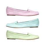 Set of colorful summer shoes flat shoes Royalty Free Stock Photography