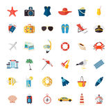 Set of colorful summer vacation, beach, seaside Stock Photo