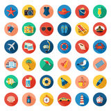 Set of colorful summer vacation, beach, seaside marine icons with long shadows. Flat style design. Royalty Free Stock Images