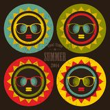 Set of colorful sun labels with woman face in it. Stock Photo