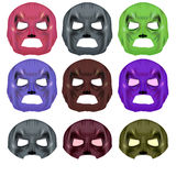 Set of Colorful Superhero Mask Royalty Free Stock Images