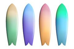 Set of colorful surfboards. Surfing equipment. Set of colorful surfboards. Realistic vector illustration of surfing equipment royalty free illustration