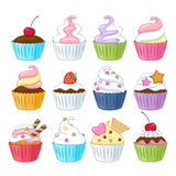 Set of colorful sweet cupcakes. Set of colorful sweet cupcakes with decorations - berries, sprinkles, wafer, candies Stock Image