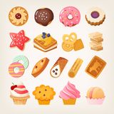 Sweet dough desserts for tea. Set of colorful sweet desserts, cookies and other pastry. Isolated vector illustrations stock illustration