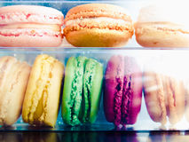 Set of colorful sweet macarons. Closeup of many colorful macarons Royalty Free Stock Photos