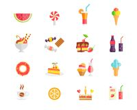 Set of colorful sweets desserts and cakes icons. With watermelon ice cream cones lollipop sundae parfait candy cookies soda doughnut tart cupcake coffee orange stock illustration