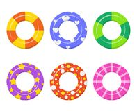 Set colorful swim rings icon isolated on white background. Royalty Free Stock Photo