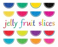 set of colorful fruit jelly slices. vector  Royalty Free Stock Photography