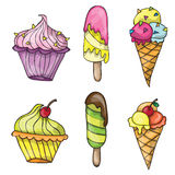 Set of colorful tasty cartoon ice cream Royalty Free Stock Photos