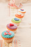 A set of colorful tasty cupcakes. Stock Photo