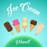 Set of colorful tasty  ice cream. Ice cream collection, vector illustration. Ice cream planet Stock Image
