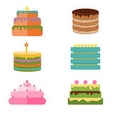 Set of colorful tasty pieces cakes, pies, and other bakery desserts icons Stock Photo