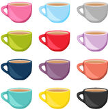 Set of colorful tea cups Stock Photo