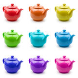 Set Of Colorful Teapots Royalty Free Stock Images