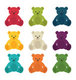 Set of colorful teddy bears Royalty Free Stock Photography