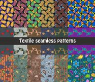 Set of colorful textile seamless patterns royalty free illustration