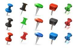 Set of colorful thumbtacks Stock Photos