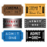 Set of colorful tickets. Various colorful tickets with the text admit one written inside the tickets Royalty Free Stock Image