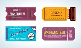 Set colorful tickets: cinema, rock concert, club disco, amusement park. Royalty Free Stock Images