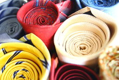 Set of colorful ties close-up image. Background Royalty Free Stock Image