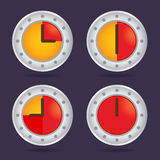 Set of Colorful Time Chronograph Icons Royalty Free Stock Photography