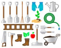 Set colorful tools for gardening landscaping Stock Image