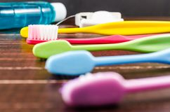 Set of colorful toothbrush with mount wash and dental floss Stock Image