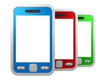 Set of colorful touchscreen smartphones on white Royalty Free Stock Image