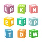 Set of colorful toy bricks with letters, vector. Set of colorful toy bricks with letters. Single vector cubes isolated on white background stock illustration