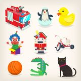 Set of colorful toys for kids games and retro christmas presents. Isolated vector images Royalty Free Stock Image