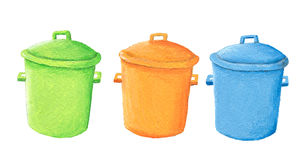 Set of colorful trash cans Stock Photos