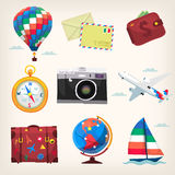 Set of colorful travel items. Set of colorful traveling transport and elements icons vector illustration