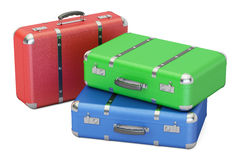 Set of colorful travel suitcases, 3D rendering Royalty Free Stock Photos
