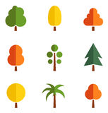 Set of colorful trees Royalty Free Stock Images