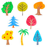Set of Colorful Trees, Watercolor Drawn, Isolated Stock Image