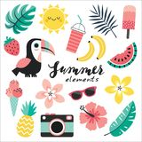 Set of colorful tropical elements toucan blush pink mint vector illustration