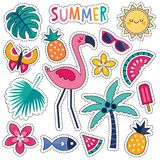 Set of colorful tropical summer patches with pink flamingo. Cartoon style vector summer patches with cute pink flamingo, tropical leaves and flowers, summer Stock Photo
