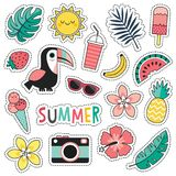 Set of colorful tropical summer patches toucan blush pink mint stock illustration