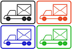 Set colorful trucks - mail and delivery symbol. Set colorful trucks - black, red, yellow and blue lorry mail and delivery symbol Stock Photography