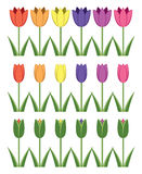 Set of colorful tulip icons, abstract flower symbols, vector  Royalty Free Stock Images