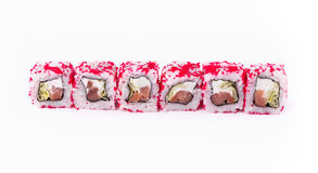Set of colorful tuna rolls isolated on white, closeup. Healthy japanese restaurant food delivery. Set of colorful tuna rolls with soft cheese in pink tobiko Stock Photos