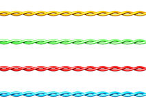 Set of colorful twisted electrical wires Royalty Free Stock Photography