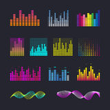 Set colorful ui ux music equalizer sound waves. Audio electronic bar. Music waves interface. Dj vector illustration. Colorful light audio signal Stock Photo