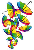 Set of colorful umbrellas. Set of umbrellas. Colorful background Royalty Free Stock Photos